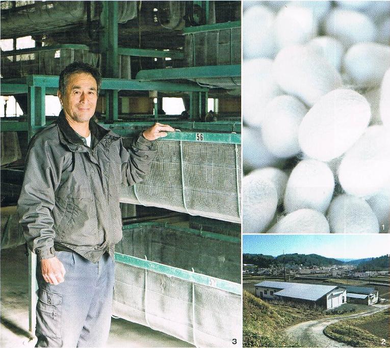 佐藤正行さんと真綿の原料となる福島県産の繭